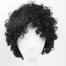 Ingrosso Capelli sintetici corti Parrucca nera Parrucche afro crespi capelli ricci per le donne nere Parrucche afro-americane Stile naturale parrucche piene