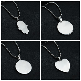 Chinese  Blank Round Pendant Necklace Stainless Steel Heart Shape Mirror Polish for Laser Engraving DIY Necklaces Women Children Gift Wholesale manufacturers
