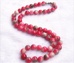 crystal treasures Australia - Natural candy color peach jade red and green treasure pink bead necklaces Women crystal jewelry hanging chain