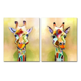 $enCountryForm.capitalKeyWord Australia - Hand painted Canvas Palette Giraffe Paintings Handmade Abstract Animal Oil Painting For Living Room Home Decor Wall Art Pictures