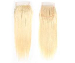 cheap virgin hair closures 2019 - Top Selling 613# Honey Blonde Human Hair Weave With Lace Closure Cheap Brazilian Silk Straight Virgin Human Hair 3 Bundl