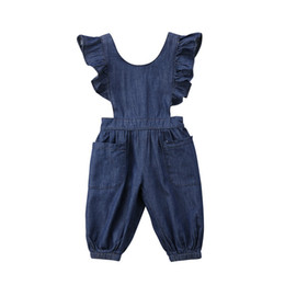e06e9d7f4bd8 Fashion Summer Cute Kids Baby Girls Denim Casual One Piece Loose Overalls  Cross Band Jumpsuit Romper Outfits Set