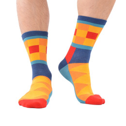 828ba000bccb7 5 Pair Lot Men 'S Bright Funny Colorful Casual Cotton Socks Diamond Stripe  Crazy Dress Party Socks New Year Gift