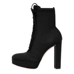 Chinese  2018 Womens Round toe Square Heel Lace up High Heels Winter Snow Boots Plus Size Cross-tied Ladies Sexy Boots Shoes For Party manufacturers