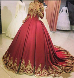 Wholesale golden color wedding dresses for sale - Group buy Vintage Satin High Neck Golden Lace Applique Muslim Bridal Gown Full Length Ball Gown Long Sleeves Elegant Wedding Dress