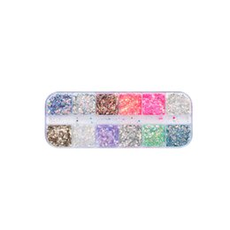 Glitter Tips UK - Full Beauty Mixed Manicure Decoration Nail Art Tips 12 Color Nail Dust Sets Glitter Sequins Makeup Tool