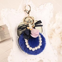 White Pearl Pink Car NZ - Rabbit Fur Ball Plush Keychain Round Ball Cloth Art Flowers Pearl Strip Metal Keychain Keyring Car Keychains Purse Charms Handbag Pendant