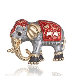 $enCountryForm.capitalKeyWord UK - Vintage Painting Oil Animal pet Elephant cartoon alloy Brooch Needle Corsage Accessories Vintage Brooch Pin Jewelry Badges