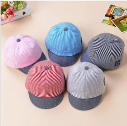 Wholesale Baby Hats Summer Cotton Casual Striped Eaves Baseball Cap Baby Boy Beret Baby Girls Sun Hat Colors Boys Girls Gift TO710