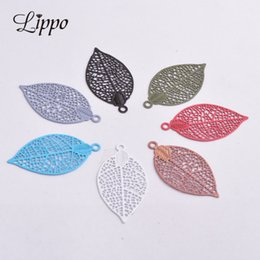 $enCountryForm.capitalKeyWord Australia - 50pcs 15*28mm Brass Leaves Charm Filigree Leaf Earrings Findings Pendants DIY Jewelry Materials