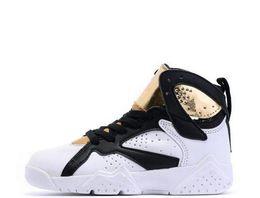 the best attitude 0dda9 9c542 2019 Boy girl 7s scarpe da basket infantili per bambini bianco nero oro  bambini atletici 7 sport sneaker multi colore e dimensioni in magazzino