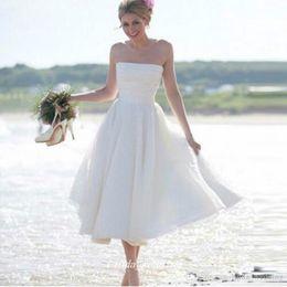 Wedding Dresses Summer Beach Short Bohemian NZ - Boho Summer Bohemian Beach Wedding Dress A Line Strapless Tea Length Short Bridal Party Gown Plus Size Vestido De noiva