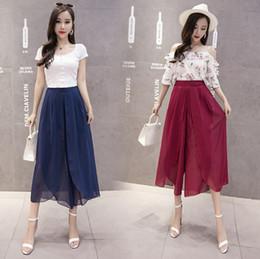 2bcb2cec04 Palazzo chiffon online shopping - Bohemia Women Capris Chiffon Trousers  Wide Leg High Waist Palazzo Trousers
