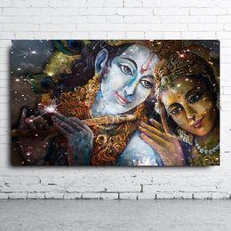 Discount buddha portraits - Handpainted & HD Print Religious Fantasy portrait Art oil painting Krishna And Radha Buddha,High Quality Wall Art On Can