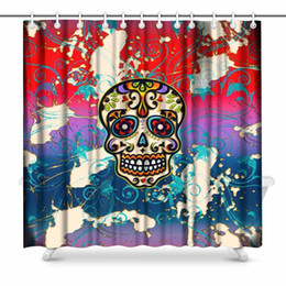 Aplysia Sugar Skull Mexico Dia De Los Muertos Day Of Dead Fabric Bathroom  Decor Shower Curtain Set With Hooks 72 Inches