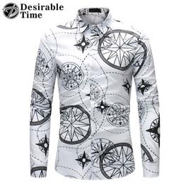 Purple Mens Black Floral Shirt Canada - Long Sleeve Hawaiian Print Shirt Men Fashion 2018 Men's Casual Floral Shirt 3XL 4XL White Blue Mens Shirts Casual Slim Fit DT318