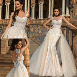 $enCountryForm.capitalKeyWord NZ - 2018 Gorgeous Champagne Wedding Dresses See-Through Lace Appliques Beaded Sleeveless Mermaid Long Bridal Gowns With Detachable Train