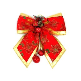 red bow christmas tree ornaments UK - Christmas Ribbon Big Red Bow Bead Decoration Gift Ornament Merry XMAS Drop shipping #GH65
