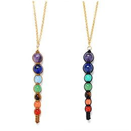 pendulum agate NZ - 7 chakra necklace spirit pendulum necklace 6 8 10mm natural amethyst lapis lazuli agate personality tapered necklace natural stone beads