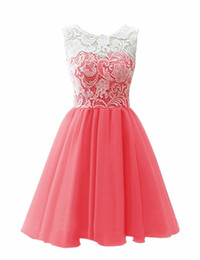 Chinese  Hot Sale Simple Chiffon Prom Dresses Jewel Neck Short Homecoming Sleeveless Lace Cocktail Dress A Line Above Knee Short Graduation manufacturers