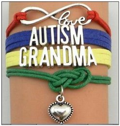 Discount love heart friendship bracelet - Love Autism Jewelry Bracelet Heart Charm Bracelets Wristband Kids Friendship Gifts Mom Dad Aunt Nana Sister Christmas Gi