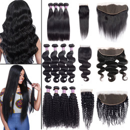 Deep wave closure sale online shopping - Sale Brazilian Virgin Hair Straight Body Water Deep Wave Bundles with Closure Unprocessed Kinky Curly Human Hair Bundles with Lace Frontal