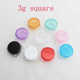 Plastic Colored NZ - 3g X 100 Empty DIY small square sample cream plastic transparent bottle jar pot container colored lid for cosmetic packaging