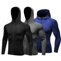 Мужчины бегущая куртка Cap Hoodie футбол трикотажные изделия сжатие фитнес Rashgard футболка спортзал бодибилдинг спортивная одежда на Распродаже