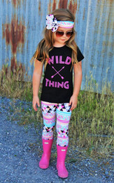 wholesale kids tshirts Australia - Baby Childrens Clothing Set Letters tshirts Pants Headbands Set Fashion Summer Girl Kids Tops Suits Boutique Clothes Outfits BY0122-20