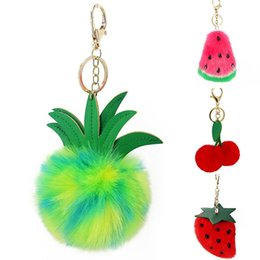 Artificial Chains Wholesalers Australia - Fluffy Rabbit Fur Ball Artificial Rabbit Fur Keychain Women Car Bag Key RingKey Chain Cute Pompon Fruits Heart Pompom