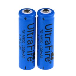 Discount ion blue - UltraFire TR 14500 3.7V 1200mAH Lithium Li-ion Rechargeable AA Battery Batteries Blue For Toy Free shiipping