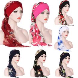 da9c68a2fcc India Muslim Floral Chiffon Head Scarf Wrap 8 Colors Women Stretch Turban  Cap Hats Long Tailed Outdoor Bandanas Hair Accessories OOA5522