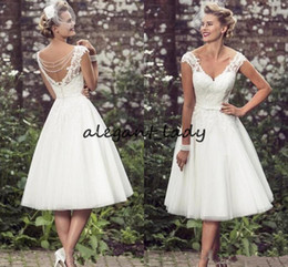 cowl neck tea length dresses Australia - Vintage Tea Length Short Wedding Dresses Cap Sleeves Appliques Lace Wedding Gowns Tulle V Neck Short Bridal Gowns Cheap