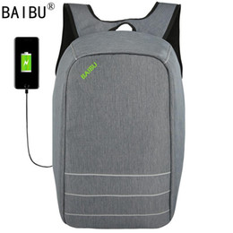 Laptop satcheL women online shopping - BAIBU Canvas Men Women Backpack Anti Theft With Usb Charging Laptop Business Unisex Knapsack Shoulder Waterproof Travel Bag