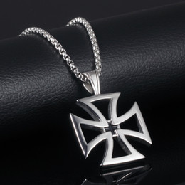 men basketball necklace Canada - Fashion Titanium Steel Unique Hollow Crusaders Templar Knights Cross Pendant Necklace For Men Charm Necklace Anti-Allergy Accessories G886F