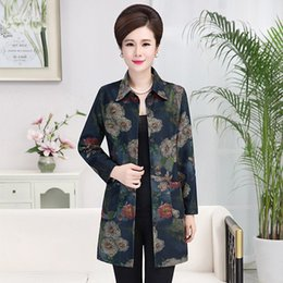 middle age women clothing 2019 - 2017 Spring Autumn Print Jacket Women Coat Stand Collar Outerwear Middle-Age Women Mother Clothing Big Size Windbreaker