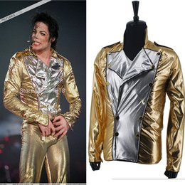 halloween costumes men xl 2019 - Classic MJ Michael Jackson History BAD Golden Spandex Double Breasted Woven Jacket Performance Halloween Costume Gift ch
