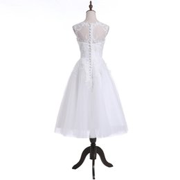 Cheap Line Bridal Wedding Dress UK - 2018 Sexy Cheap Stock A-Line White Wedding Dresses With Appliques Floor-Length Plus Size Wedding Party Bridal Gowns QC1141