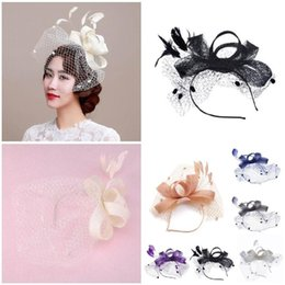 Wholesale Fashion Women Fascinator Cambric Headdress Vintage Lady Cocktail Hat French Veiling Wedding Party Bridal Hair Accessorie H9