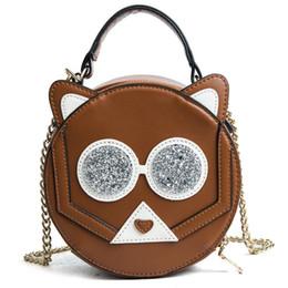 Cute Cartoon Round Bag Small Handbags for Women Leather Shoulder Hand Bag  Black Yellow Girls Chain Shoulder Bag 2018 Summer New 1ae6ff018df28