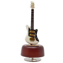 Wooden Art Model Canada - New Hand-made Arts Mini Guitar Model Music Box Wooden Guitar Rotating Musical Box