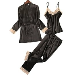 $enCountryForm.capitalKeyWord NZ - New Women Luxury Pajama Sets Fashion 3 Pcs Pajama Long Pants Set Female Pijamas Silk Home Suit Sexy Robe Set Soft Nightwear Hot Y1892710