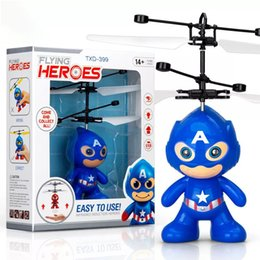 Discount minions toy wholesalers - drone rc helicopters christmas kids toys with spiderman superman batman minions sytle flying LED toy for Children
