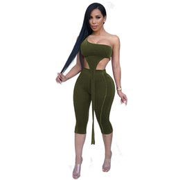 One Piece Pant Suits Women UK - Autumn Sexy Solid Velvet Two Pieces Pants Suit Women Sleeveless One Shoulder Party Outfits Women Tracksuit