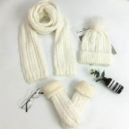 $enCountryForm.capitalKeyWord Canada - Three sets of women's winter knitted wool plus veet gloves scarf hat one Korean thick warm suit four colors