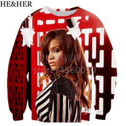Rihanna 3d sweatshiRt online shopping - New popular singer Rihanna men women D color printed sweatshirts unisex hip hop style streetwear casual sweatshirt hooded tops