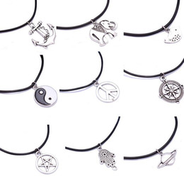 $enCountryForm.capitalKeyWord UK - Vintage Silver Saturn Elephant Hand Pentagram Compass Peace Sign Yin yang Bird Necklaces Leather Necklaces Pendant For Women Jewelry Gift