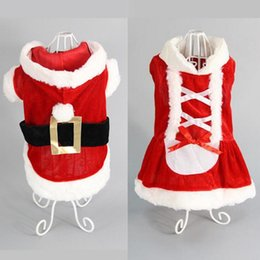 Dresses apparel online shopping - 5 Size dog costume Christmas dog transformed dress santa suit classic Euramerican pet dog Christmas clothes pets apparel supplies free ship