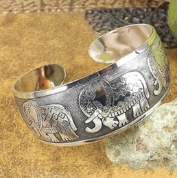 vintage tibetan jewelry 2019 - Women Punk Elephant Charms Wide Cuff Bangle Ethnic Ppening Tibetan Vintage Silver Bangles Bracelets Wristband Fashion Je