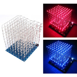 3d led cubes Australia - Freeshipping 3D LED Light Squared DIY Kit 8x8x8 3mm LED Cube White LED Blue Red Ray Light PCB Board Table Lamps